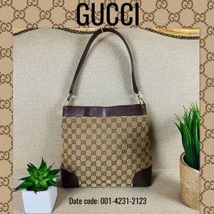 Gucci Shoulder Bag Handbag Canvas Leather